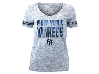 New York Yankees 5th & Ocean MLB Women's Plus Space Dye Sleeve T-Shirt