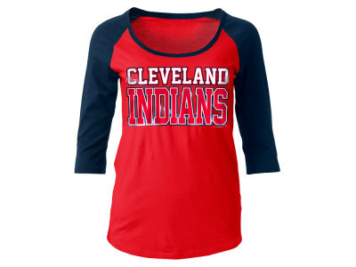 Cleveland Indians 5th & Ocean MLB Women's Plus Raglan T-shirt