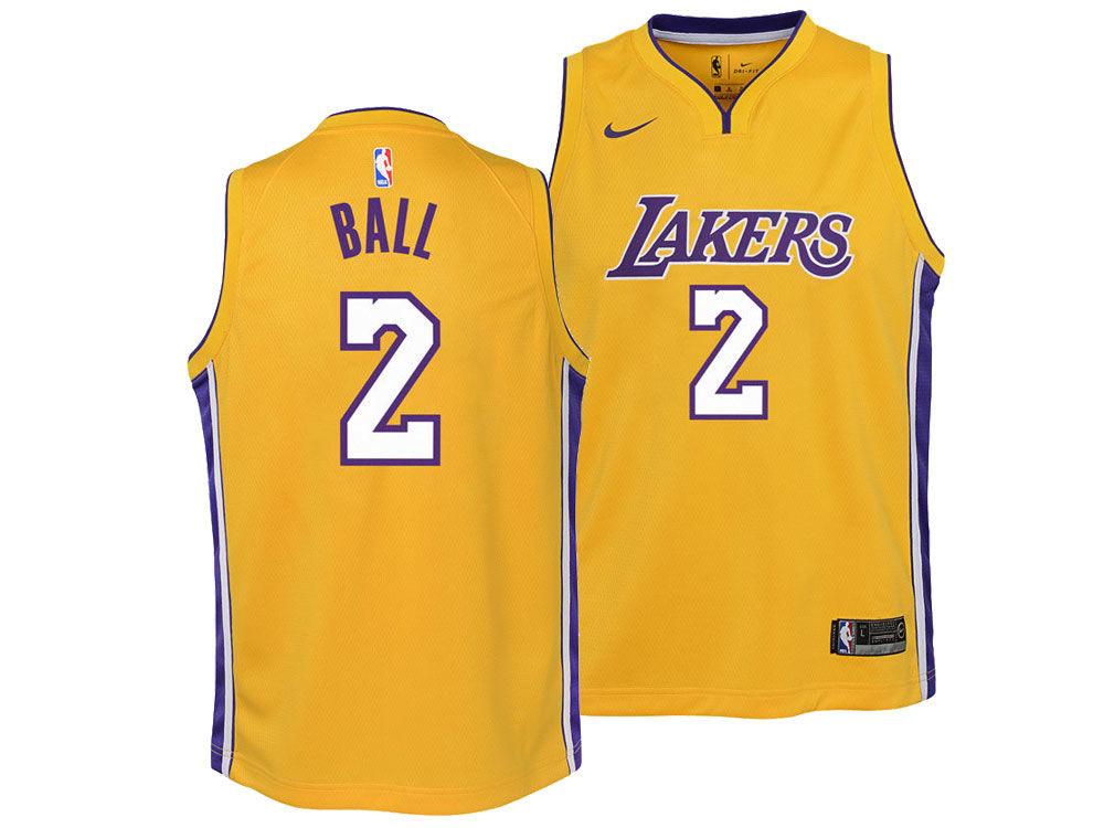 Los Angeles Lakers Lonzo Ball Nike NBA Youth Icon Swingman Jersey ... e0060a614