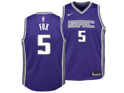 Sacramento Kings DeAaron Fox Nike NBA Youth Icon Swingman Jersey