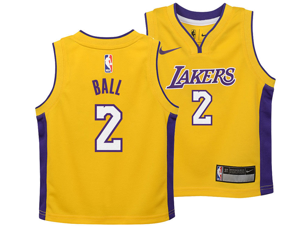Los Angeles Lakers Lonzo Ball Nike NBA Kids Icon Replica Jersey ... 64ce9f95a