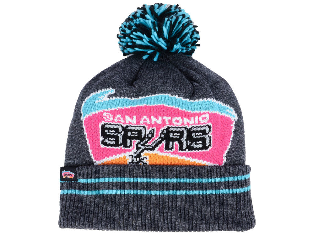 San Antonio Spurs Mitchell   Ness Black Heather Hi-5 Pom Knit 71795fb201e