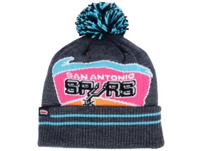San Antonio Spurs Mitchell & Ness Black Heather Hi-5 Pom Knit