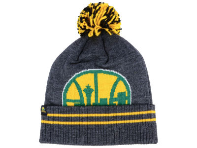 Seattle SuperSonics Mitchell & Ness Black Heather Hi-5 Pom Knit