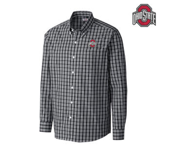 Ohio State Buckeyes Cutter & Buck NCAA Men's Discovery Park Plaid Button Down
