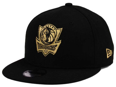 Dallas Mavericks New Era NBA Youth Black on Gold 9FIFTY Snapback Cap