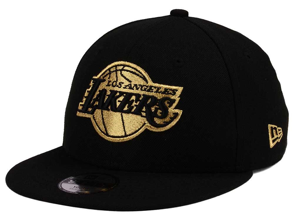 6614159f5a6 Los Angeles Lakers New Era NBA Youth Black on Gold 9FIFTY Snapback Cap