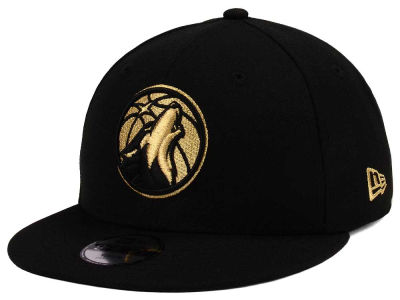 Minnesota Timberwolves New Era NBA Youth Black on Gold 9FIFTY Snapback Cap