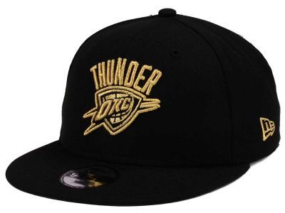 Oklahoma City Thunder New Era NBA Youth Black on Gold 9FIFTY Snapback Cap