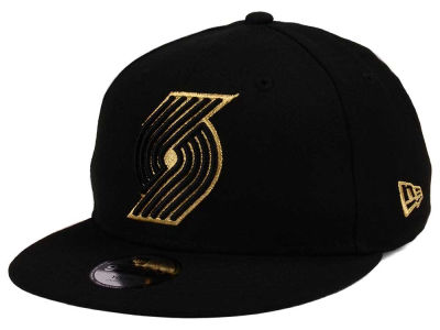Portland Trail Blazers New Era NBA Youth Black on Gold 9FIFTY Snapback Cap