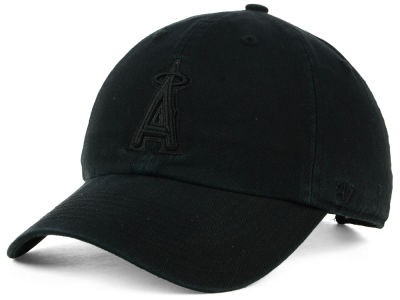 Los Angeles Angels '47 MLB Black on Black CLEAN UP Cap