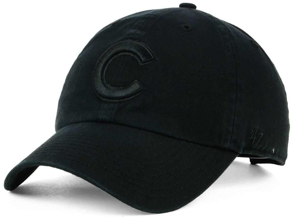 Chicago Cubs  47 MLB Black on Black CLEAN UP Cap  a18f21e4fc9