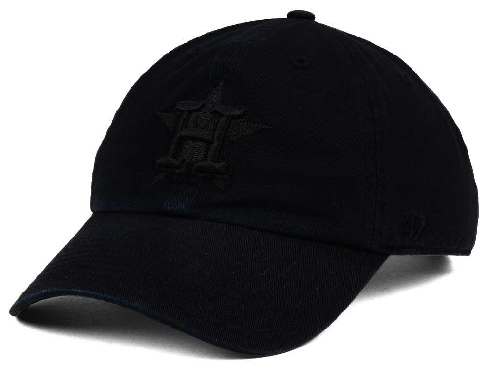 houston astros 47 mlb black on black clean up cap