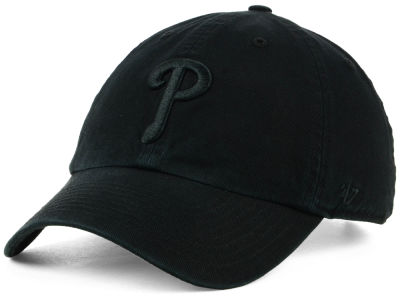 Philadelphia Phillies '47 MLB Black on Black CLEAN UP Cap