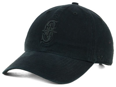 Seattle Mariners '47 MLB Black on Black CLEAN UP Cap