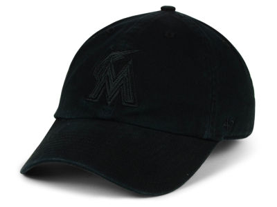 Miami Marlins '47 MLB Black on Black CLEAN UP Cap