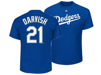 Los Angeles Dodgers Yu Darvish Majestic MLB Men's Official Player T-Shirt