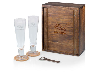 Denver Broncos Picnic Time Boxed Pilsner Glass Set