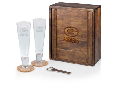 Green Bay Packers Picnic Time Boxed Pilsner Glass Set