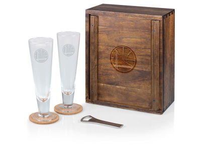 Golden State Warriors Picnic Time Boxed Pilsner Glass Set