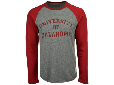 Oklahoma Sooners Retro Brand NCAA Men's Color Blocked Long Sleeve Raglan T-Shirt