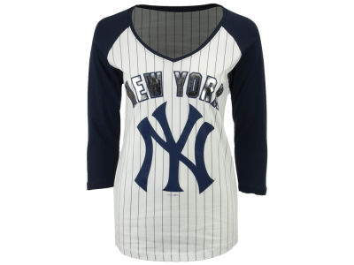 New York Yankees 5th & Ocean MLB Women's Pinstripe Foil Raglan T-shirt