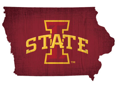 Iowa State Cyclones Home State with Heart Wood Sign