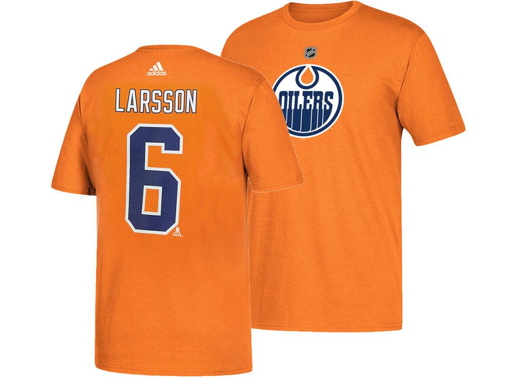 Edmonton Oilers Adam Larsson adidas NHL Men s Silver Player T-shirt ... 631eb96b8