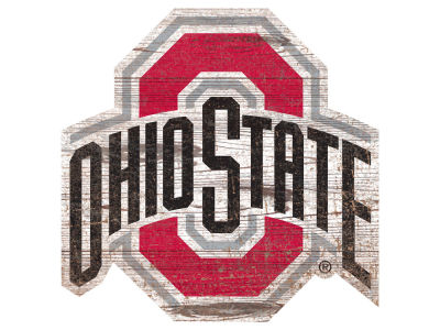 "Ohio State Buckeyes 24"" Distressed Logo Cutout Wood Sign"