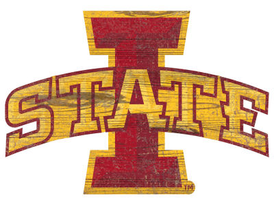 "Iowa State Cyclones 24"" Distressed Logo Cutout Wood Sign"
