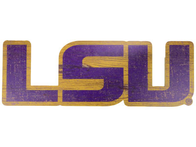 "LSU Tigers 24"" Distressed Logo Cutout Wood Sign"