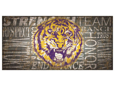 LSU Tigers 6x12 Heritage Wood College Sign