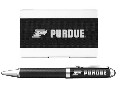 Purdue Boilermakers 2pc Carbon Fiber Pen/ Card Holder Gift Set