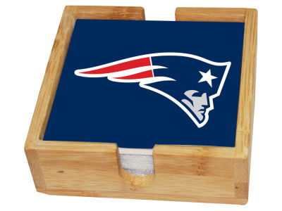 New England Patriots Memory Company 4-pack Square Coaster w/ Caddy