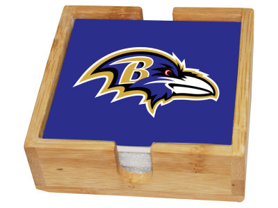 Baltimore Ravens Memory Company 4-pack Square Coaster w/ Caddy