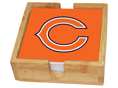 Chicago Bears Memory Company 4-pack Square Coaster w/ Caddy