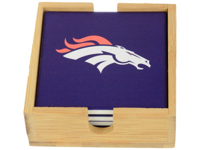 Denver Broncos Memory Company 4-pack Square Coaster w/ Caddy