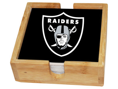 Oakland Raiders Memory Company 4-pack Square Coaster w/ Caddy