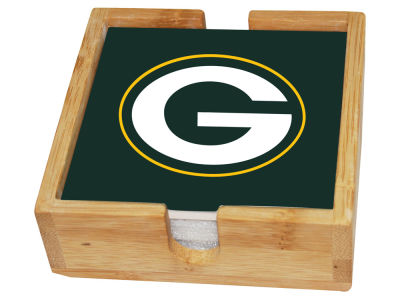 Green Bay Packers Memory Company 4-pack Square Coaster w/ Caddy