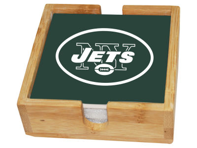 New York Jets Memory Company 4-pack Square Coaster w/ Caddy