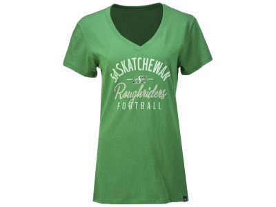 Saskatchewan Roughriders '47 CFL Women's Metallic Script Ultra Rival V-Neck T-Shirt