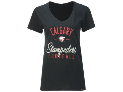 Calgary Stampeders '47 CFL Women's Metallic Script Ultra Rival V-Neck T-Shirt