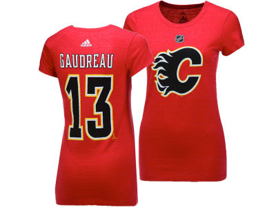 Calgary Flames Johnny Gaudreau adidas 2017 NHL Women's Player T-Shirt