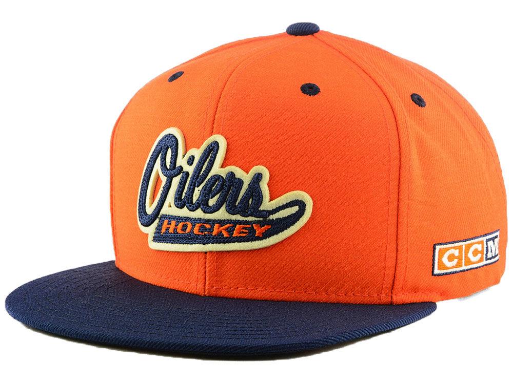 86d5b9d8eff Edmonton Oilers adidas NHL Script Snapback Cap