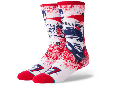 Los Angeles Angels Mike Trout Stance MLB Future Legends Splatter Cartoon Crew Socks