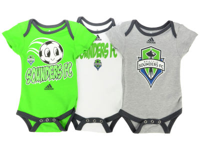 Seattle Sounders FC adidas MLS Newborn Hat Trick 3 Pack Creeper