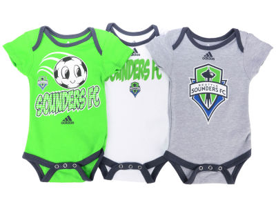 Seattle Sounders FC adidas MLS Infant Hat Trick 3 Pack Creeper