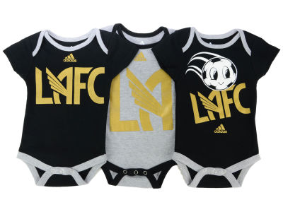 Los Angeles Football Club adidas MLS Infant Hat Trick 3 Pack Creeper