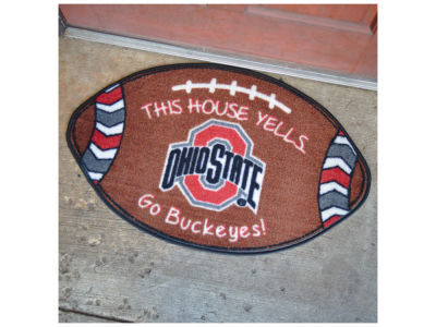 Ohio State Buckeyes Football Shaped Floor Mat