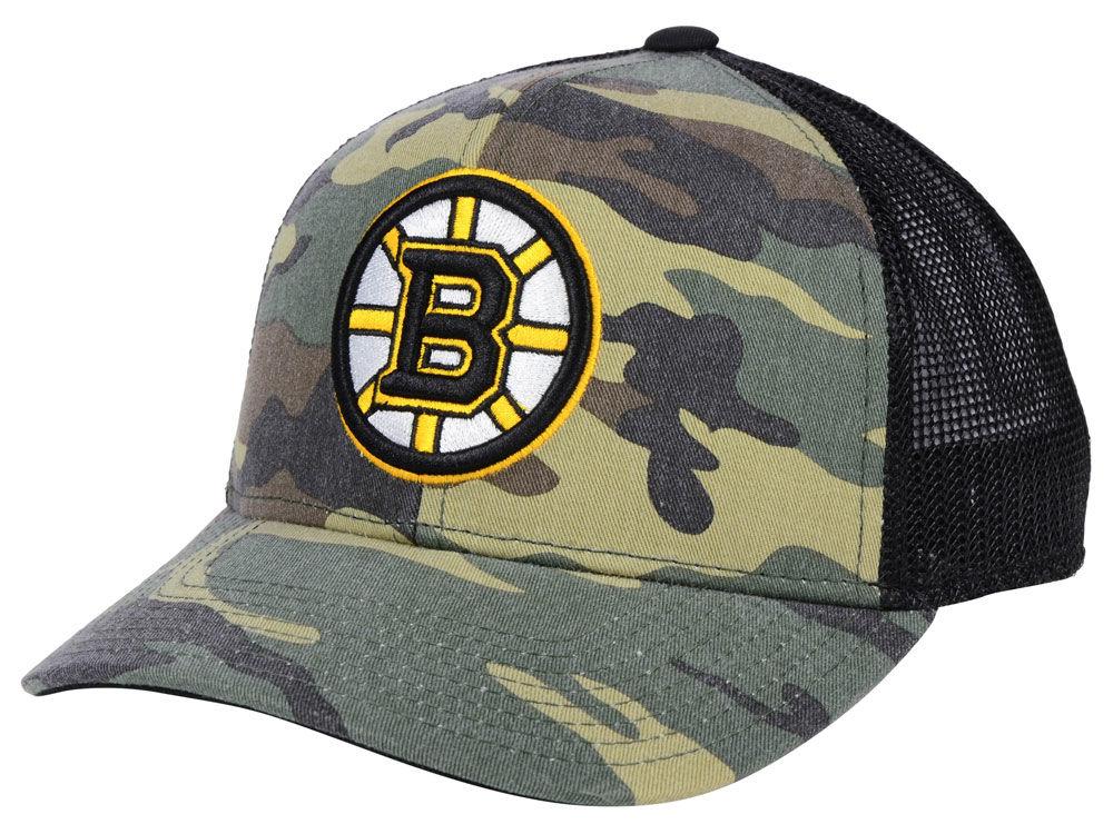 Boston Bruins adidas NHL Camo Trucker Cap  fa23e07c22